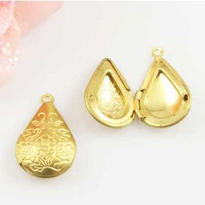 Box Pendant, Alloy, Gold colour, 2.4cm x 1.5cm x 0.4cm, 1  piece, (LJP299)